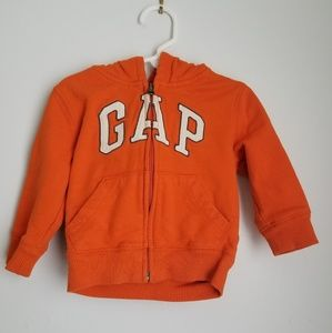 Baby Gap orange zip up logo hoodie